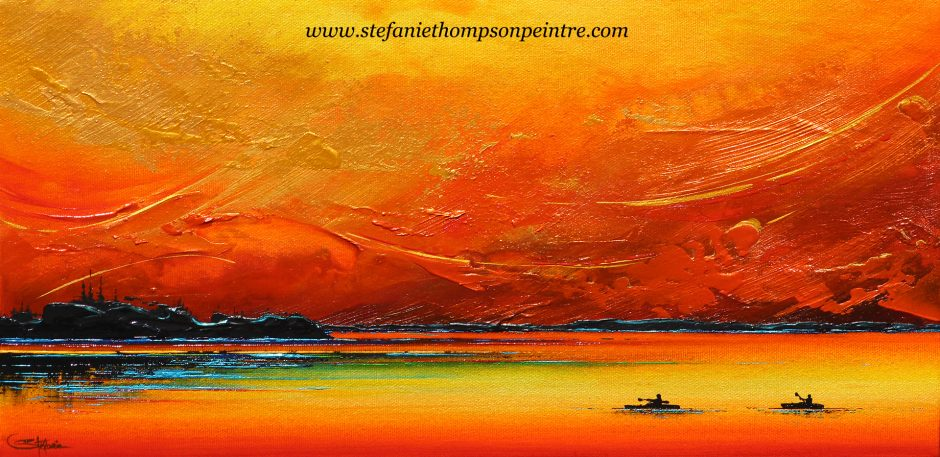 Kayak Sous Un Ciel Orange Web